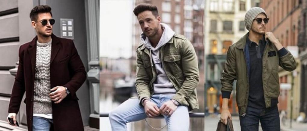 Hombres con ropa de moda de invierno.