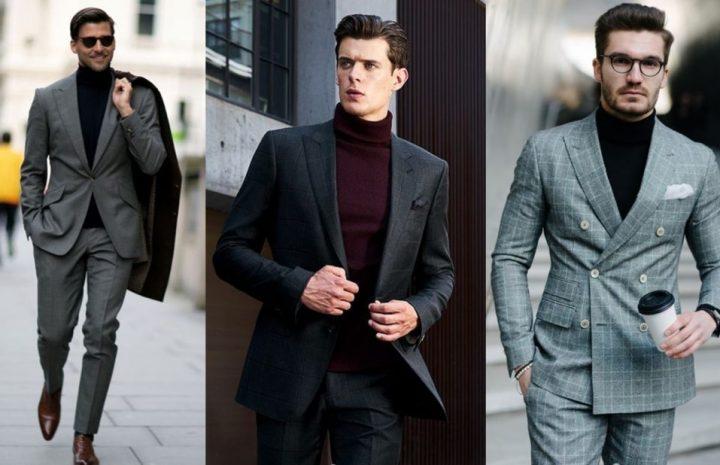 Hombres con sueter de vestir y traje